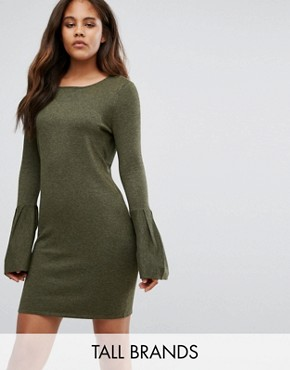 photo Bell Sleeve Jumper Dress by Vero Moda Tall, color Dark Olive - Image 1