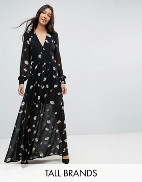 photo Floral Maxi Dress by Vero Moda Tall, color Black - Image 1