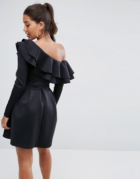 photo Double Ruffle One Shoulder Mini Dress by ASOS, color Black - Image 2
