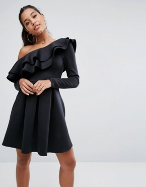 photo Double Ruffle One Shoulder Mini Dress by ASOS, color Black - Image 1