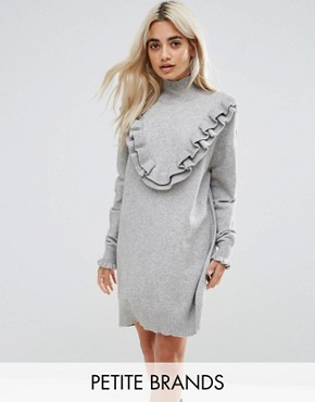 photo Frill Knitted Dress by Vero Moda Petite, color Grey Melange - Image 1