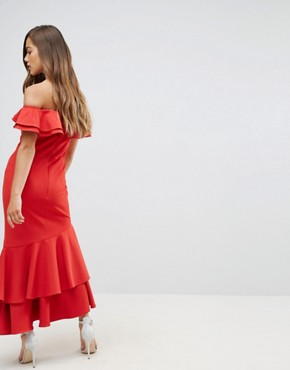 photo Ruffle Bardot Maxi Dress with Cut Out by Jarlo Petite, color Red - Image 2