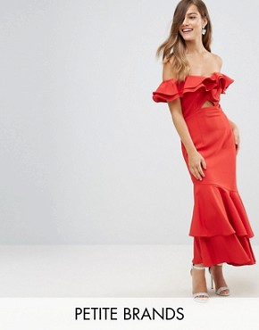 photo Ruffle Bardot Maxi Dress with Cut Out by Jarlo Petite, color Red - Image 1
