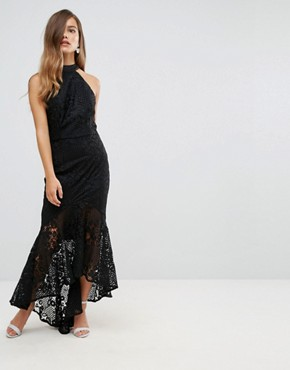 photo Allover Cutwork Lace High Low Maxi Dress with Tie Neck Detail by Jarlo Petite, color Black - Image 2