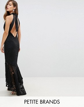 photo Allover Cutwork Lace High Low Maxi Dress with Tie Neck Detail by Jarlo Petite, color Black - Image 1
