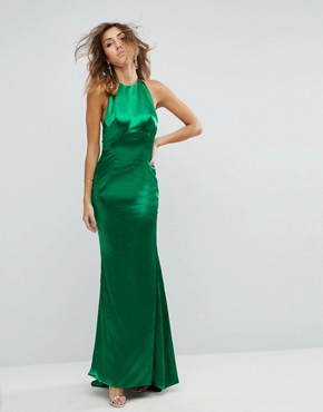 photo High Neck Fishtail Maxi Dress with Open Back Detail by Jarlo Tall, color Green - Image 2