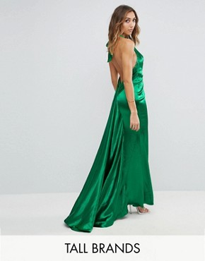 photo High Neck Fishtail Maxi Dress with Open Back Detail by Jarlo Tall, color Green - Image 1
