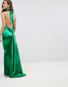 photo High Neck Fishtail Maxi Dress with Open Back Detail by Jarlo Petite, color Green - Image 2