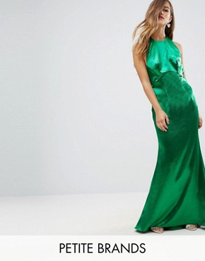 photo High Neck Fishtail Maxi Dress with Open Back Detail by Jarlo Petite, color Green - Image 1