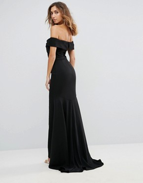 photo Off Shoulder Overlay Maxi Dress by Jarlo Tall, color Black - Image 2