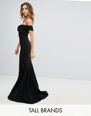 photo Off Shoulder Overlay Maxi Dress by Jarlo Tall, color Black - Image 1