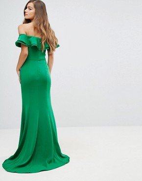 photo Frill Off Shoulder Maxi Dress with Thigh Split by Jarlo Petite, color Green - Image 2