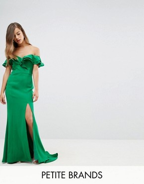 photo Frill Off Shoulder Maxi Dress with Thigh Split by Jarlo Petite, color Green - Image 1