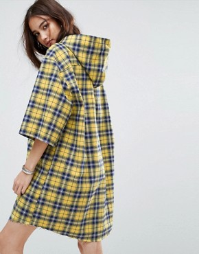 photo Hooded Shirt Dress in Check by Reclaimed Vintage Inspired, color Yellow - Image 2