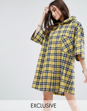 photo Hooded Shirt Dress in Check by Reclaimed Vintage Inspired, color Yellow - Image 1