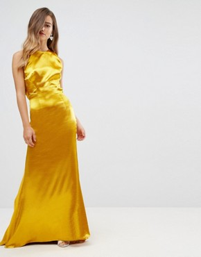 photo High Neck Fishtail Maxi Dress with Strappy Open Back Detail by Jarlo Petite, color Rich Ochre - Image 2