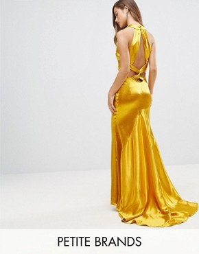 photo High Neck Fishtail Maxi Dress with Strappy Open Back Detail by Jarlo Petite, color Rich Ochre - Image 1