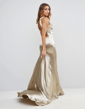 photo High Neck Fishtail Maxi Dress with Strappy Open Back Detail by Jarlo Tall, color Gold Metallic - Image 2