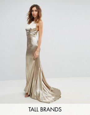 photo High Neck Fishtail Maxi Dress with Strappy Open Back Detail by Jarlo Tall, color Gold Metallic - Image 1