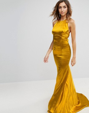 photo High Neck Fishtail Maxi Dress with Strappy Open Back Detail by Jarlo Tall, color Rich Ochre - Image 2