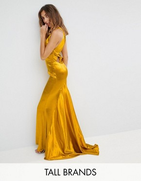 photo High Neck Fishtail Maxi Dress with Strappy Open Back Detail by Jarlo Tall, color Rich Ochre - Image 1