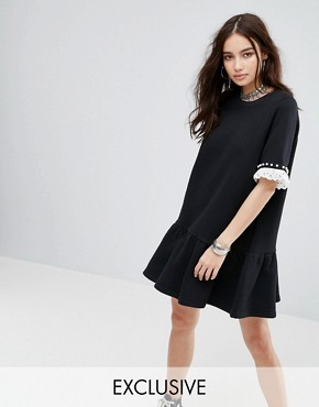 photo T-Shirt Dress with Trims by Reclaimed Vintage Inspired, color Black - Image 1
