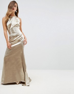 photo High Neck Fishtail Maxi Dress with Strappy Open Back Detail by Jarlo Petite, color Gold Metallic - Image 2