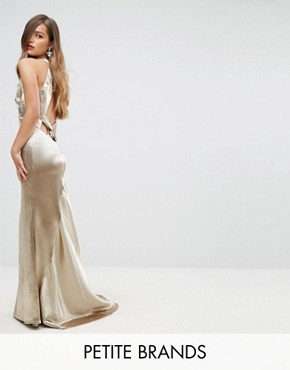 photo High Neck Fishtail Maxi Dress with Strappy Open Back Detail by Jarlo Petite, color Gold Metallic - Image 1