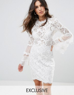 photo Allover Lace Dress with Fluted Sleeve Detail by Lioness, color White - Image 1