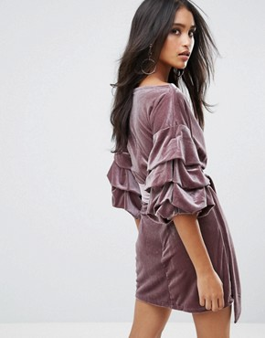 photo Velvet Off Shoulder Mini Dress with Ruched Sleeve Detail by Lioness, color Dusty Cedar - Image 2