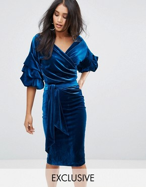 photo Velvet Off Shoulder Midi Dress with Ruched Sleeve Detail by Lioness, color Topaz - Image 1