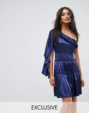 photo Frill One Shoulder Tiered Mini Dress by Lioness, color Navy - Image 1