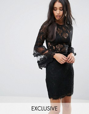 photo Allover Lace Dress with Fluted Sleeve Detail by Lioness, color Black - Image 1
