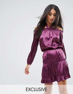 photo Halterneck Mini Dress with Tiering by Lioness, color Plum - Image 1