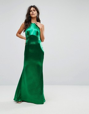photo High Neck Fishtail Maxi Dress with Open Back Detail by Jarlo, color Green - Image 2