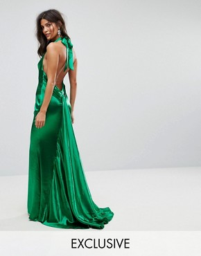 photo High Neck Fishtail Maxi Dress with Open Back Detail by Jarlo, color Green - Image 1