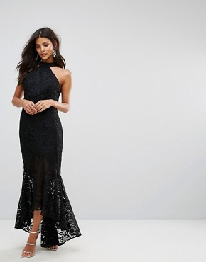 photo Allover Cutwork Lace High Low Maxi Dress with Tie Neck Detail by Jarlo, color Black - Image 2