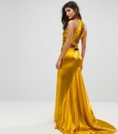 photo High Neck Fishtail Maxi Dress with Strappy Open Back Detail by Jarlo, color Rich Ochre - Image 1