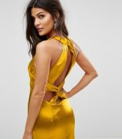 photo High Neck Fishtail Maxi Dress with Strappy Open Back Detail by Jarlo, color Rich Ochre - Image 3