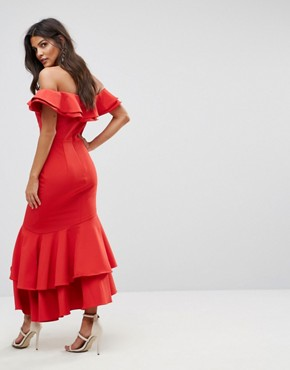 photo Ruffle Bardot Maxi Dress with Cut Out by Jarlo, color Red - Image 2