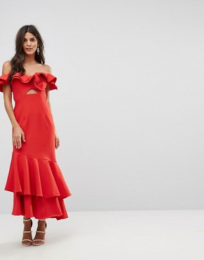 photo Ruffle Bardot Maxi Dress with Cut Out by Jarlo, color Red - Image 1