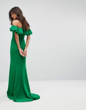 photo Frill Off Shoulder Maxi Dress with Thigh Split by Jarlo, color Green - Image 2