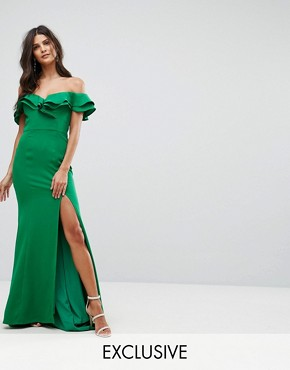 photo Frill Off Shoulder Maxi Dress with Thigh Split by Jarlo, color Green - Image 1