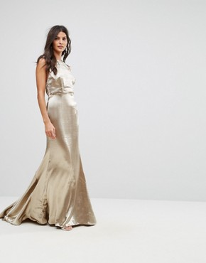 photo High Neck Fishtail Maxi Dress with Strappy Open Back Detail by Jarlo, color Gold Metallic - Image 2