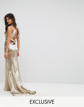 photo High Neck Fishtail Maxi Dress with Strappy Open Back Detail by Jarlo, color Gold Metallic - Image 1