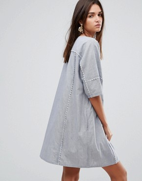 photo Scalloped Edged Cotton Shift Dress by YMC, color Blue/White - Image 2
