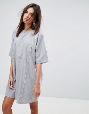 photo Scalloped Edged Cotton Shift Dress by YMC, color Blue/White - Image 1