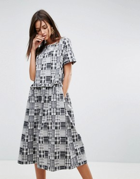 photo Patchwork Ruffle Midi Dress by YMC, color Black White - Image 1