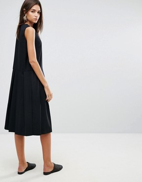photo Pleat Wool Blend Dress by YMC, color Black - Image 2