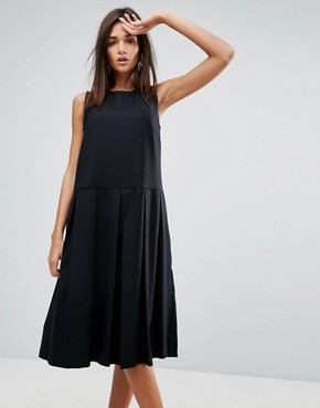 photo Pleat Wool Blend Dress by YMC, color Black - Image 1